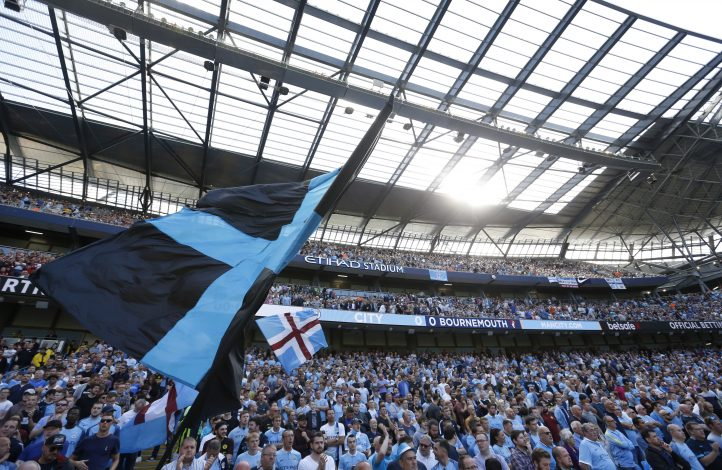 "Football Soccer Britain - Manchester City v AFC Bournemouth - Premier League - Etihad Stadium - 17/9/16 Manchester City fans Action Images via Reuters / Carl Recine Livepic EDITORIAL USE ONLY. No use with unauthorized audio, video, data, fixture lists, club/league logos or ""live"" services. Online in-match use limited to 45 images, no video emulation. No use in betting, games or single club/league/player publications. Please contact your account representative for further details. - RTSO5M6"
