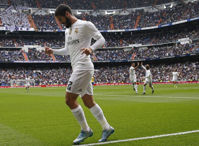 Real Madrid's Isco Alarcon celebrates his goal against Las Palmas during their Spanish first division soccer match at Santiago Bernabeu stadium in Madrid, Spain, October 31, 2015. REUTERS/Andrea Comas - RTX1U42A