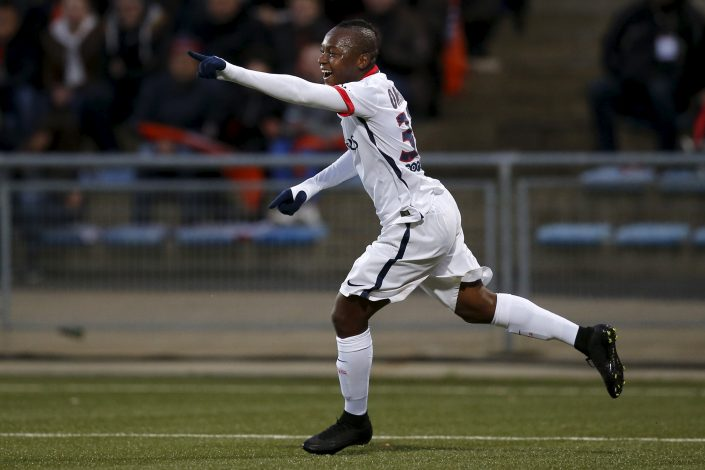 Football Soccer - Lorient v Paris St Germain - French Ligue 1 - Moustoir stadium, Lorient, France - 21/11/2015Paris St Germain's Hervin Ongenda celebrates after scoring against Lorient during their French Ligue 1 soccer matchREUTERS/Stephane Mahe - RTX1V6R8