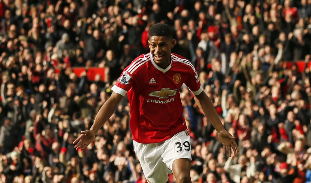 """Football Soccer - Manchester United v Arsenal - Barclays Premier League - Old Trafford - 28/2/16 Manchester United's Marcus Rashford celebrates scoring their second goal Action Images via Reuters / Jason Cairnduff Livepic EDITORIAL USE ONLY. No use with unauthorized audio, video, data, fixture lists, club/league logos or """"live"""" services. Online in-match use limited to 45 images, no video emulation. No use in betting, games or single club/league/player publications.  Please contact your account representative for further details. - RTS8D36"""