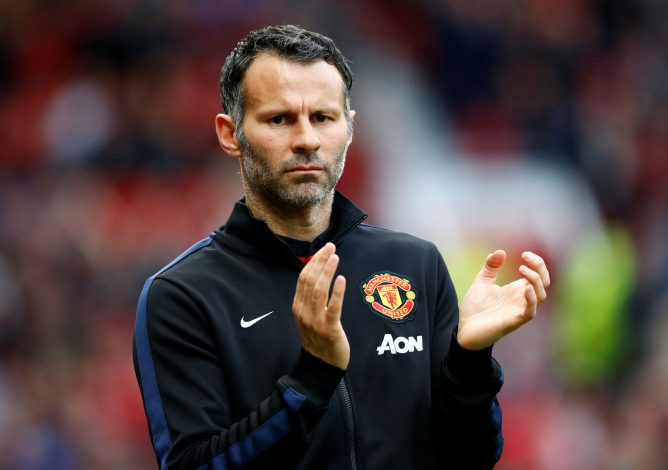 "Manchester United's interim manager Ryan Giggs reacts during their English Premier League soccer match against Hull City at Old Trafford in Manchester, northern England May 6, 2014. REUTERS/Darren Staples/File Photo FOR EDITORIAL USE ONLY. NOT FOR SALE FOR MARKETING OR ADVERTISING CAMPAIGNS. NO USE WITH UNAUTHORIZED AUDIO, VIDEO, DATA, FIXTURE LISTS, CLUB/LEAGUE LOGOS OR ""LIVE"" SERVICES. ONLINE IN-MATCH USE LIMITED TO 45 IMAGES, NO VIDEO EMULATION. NO USE IN BETTING, GAMES OR SINGLE CLUB/LEAGUE/PLAYER PUBLICATIONS - RTX2J887"