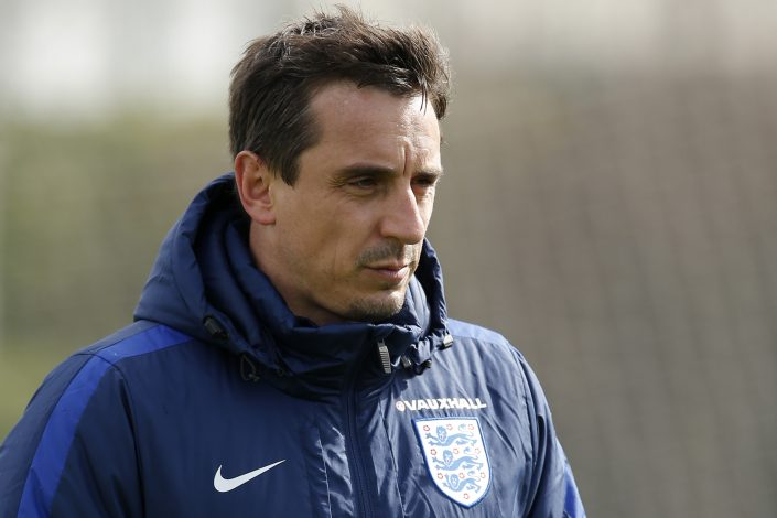Football Soccer - England Training - Tottenham Hotspur Training Ground, Hertfordshire - 28/3/16 England coach Gary Neville during training Action Images via Reuters / Andrew Couldridge Livepic EDITORIAL USE ONLY. - RTSCHAG