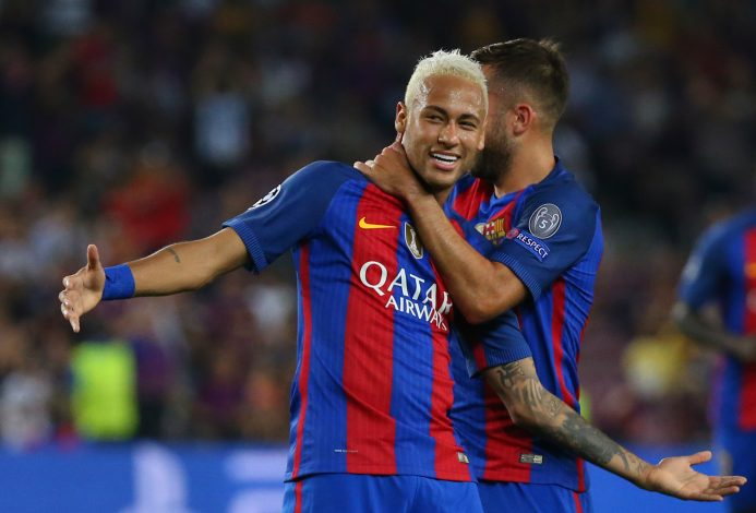 Football Soccer - FC Barcelona v Celtic - UEFA Champions League Group Stage - Group C - The Nou Camp, Barcelona, Spain - 13/9/16 Barcelona's Neymar celebrates Reuters / Paul Hanna Livepic EDITORIAL USE ONLY. - RTSNLOF