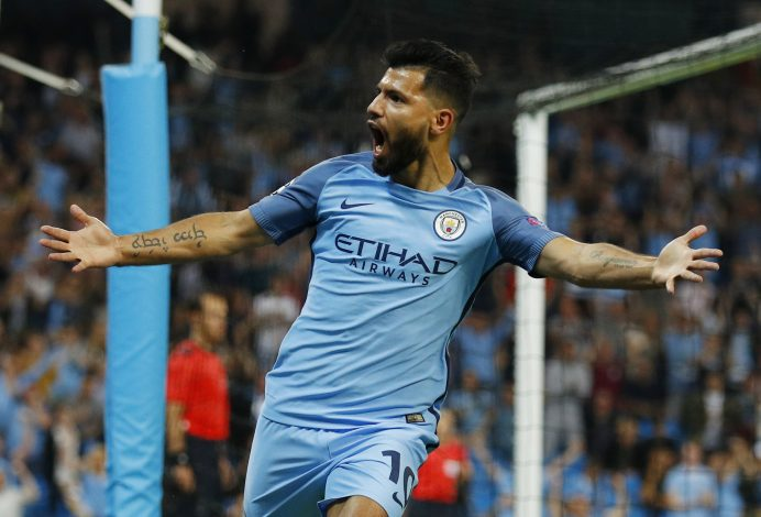 Britain Soccer Football - Manchester City v Borussia Monchengladbach - UEFA Champions League Group Stage - Group C - Etihad Stadium, Manchester, England - 14/9/16 Manchester City's Sergio Aguero celebrates scoring their first goal Reuters / Phil Noble Livepic EDITORIAL USE ONLY. - RTSNRDZ