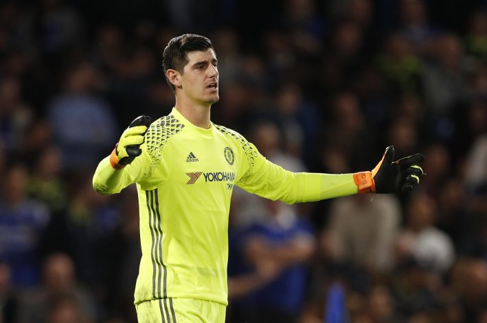 "Britain Football Soccer - Chelsea v Liverpool - Premier League - Stamford Bridge - 16/9/16 Chelsea's Thibaut Courtois reacts after Liverpool's Jordan Henderson scored their second goal Action Images via Reuters / John Sibley Livepic EDITORIAL USE ONLY. No use with unauthorized audio, video, data, fixture lists, club/league logos or ""live"" services. Online in-match use limited to 45 images, no video emulation. No use in betting, games or single club/league/player publications. Please contact your account representative for further details. - RTSO3MP"