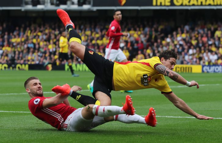 "Britain Football Soccer - Watford v Manchester United - Premier League - Vicarage Road - 18/9/16 Watford's Daryl Janmaat in action with Manchester United's Luke Shaw Reuters / Eddie Keogh Livepic EDITORIAL USE ONLY. No use with unauthorized audio, video, data, fixture lists, club/league logos or ""live"" services. Online in-match use limited to 45 images, no video emulation. No use in betting, games or single club/league/player publications. Please contact your account representative for further details. - RTSO8YG"