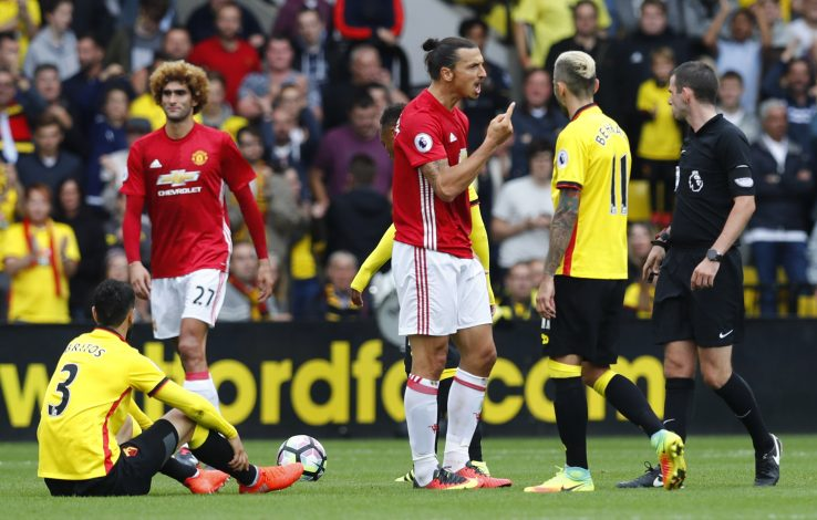 "Britain Football Soccer - Watford v Manchester United - Premier League - Vicarage Road - 18/9/16 Manchester United's Zlatan Ibrahimovic reacts as referee Michael Oliver looks on Reuters / Eddie Keogh Livepic EDITORIAL USE ONLY. No use with unauthorized audio, video, data, fixture lists, club/league logos or ""live"" services. Online in-match use limited to 45 images, no video emulation. No use in betting, games or single club/league/player publications. Please contact your account representative for further details. - RTSO9GJ"