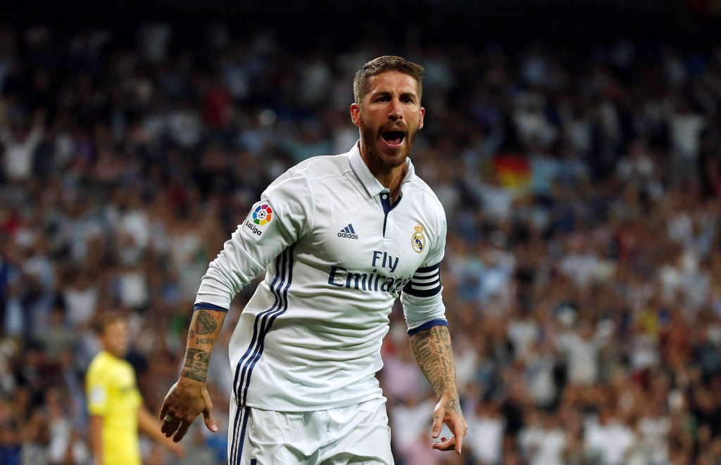 Football Soccer - Real Madrid v Villarreal - Spanish Liga Santander - Santiago Bernabeu, Madrid, Spain - 21/09/16. Real Madrid's Sergio Ramos celebrates a goal. REUTERS/Sergio Perez - RTSOUA1