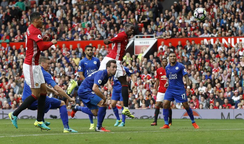 "Britain Football Soccer - Manchester United v Leicester City - Premier League - Old Trafford - 24/9/16 Manchester United's Paul Pogba scores their fourth goal Action Images via Reuters / Carl Recine Livepic EDITORIAL USE ONLY. No use with unauthorized audio, video, data, fixture lists, club/league logos or ""live"" services. Online in-match use limited to 45 images, no video emulation. No use in betting, games or single club/league/player publications. Please contact your account representative for further details. - RTSP853"