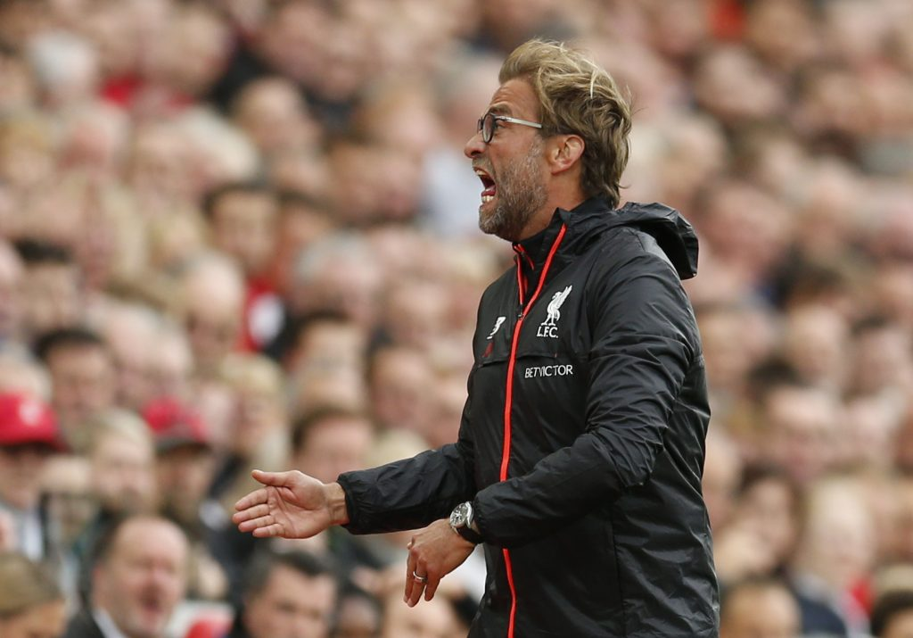 """Britain Football Soccer - Liverpool v Hull City - Premier League - Anfield - 24/9/16 Liverpool manager Juergen Klopp  Action Images via Reuters / Andrew Boyers Livepic EDITORIAL USE ONLY. No use with unauthorized audio, video, data, fixture lists, club/league logos or """"live"""" services. Online in-match use limited to 45 images, no video emulation. No use in betting, games or single club/league/player publications. Please contact your account representative for further details. - RTSP8X8"""