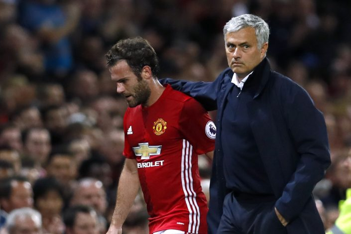 "Football Soccer Britain - Manchester United v Southampton - Premier League - Old Trafford - 19/8/16 Manchester United's Juan Mata with manager Jose Mourinho after he has been substituted Action Images via Reuters / Jason Cairnduff Livepic EDITORIAL USE ONLY. No use with unauthorized audio, video, data, fixture lists, club/league logos or ""live"" services. Online in-match use limited to 45 images, no video emulation. No use in betting, games or single club/league/player publications. Please contact your account representative for further details. - RTX2M5KG"