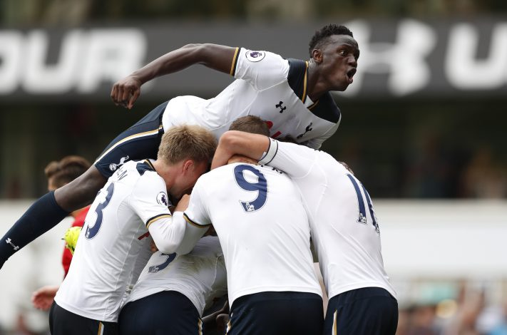 """Football Soccer Britain - Tottenham Hotspur v Liverpool - Premier League - White Hart Lane - 27/8/16 Tottenham's Danny Rose celebrates scoring their first goal with Victor Wanyama and team mates Action Images via Reuters / John Sibley Livepic EDITORIAL USE ONLY. No use with unauthorized audio, video, data, fixture lists, club/league logos or """"live"""" services. Online in-match use limited to 45 images, no video emulation. No use in betting, games or single club/league/player publications. Please contact your account representative for further details. - RTX2N98O"""