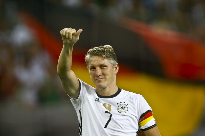 Football Soccer - Germany v Finland - Soccer Friendly - Moenchengladbach, Germany - 31/08/16. Germany's Bastian Schweinsteiger reacts after the match. REUTERS/Wolfgang Rattay - RTX2NQSG