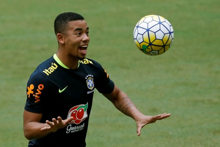 Football Soccer - Brazil national soccer team training - World Cup 2018 Qualifier - Manaus Arena Stadium, Manaus, Brazil - 5/9/16.Brazil's player Gabriel Jesus attends a training session. REUTERS/Bruno Kelly - RTX2O9C7