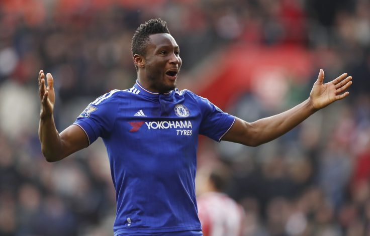 "Football Soccer - Southampton v Chelsea - Barclays Premier League - St Mary's Stadium - 27/2/16 Chelsea's John Obi Mikel celebrates Action Images via Reuters / John Sibley Livepic EDITORIAL USE ONLY. No use with unauthorized audio, video, data, fixture lists, club/league logos or ""live"" services. Online in-match use limited to 45 images, no video emulation. No use in betting, games or single club/league/player publications.  Please contact your account representative for further details. - RTS89ZW"