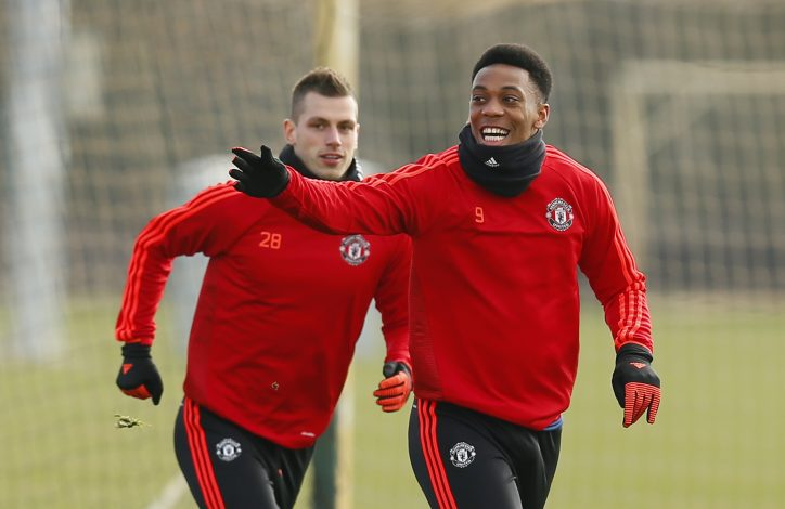 Football Soccer - Manchester United Training - Manchester United Training Ground, Manchester, England - 16/3/16 Manchester United's Anthony Martial and Morgan Schneiderlin during training Action Images via Reuters / Jason Cairnduff Livepic EDITORIAL USE ONLY. - RTSAOLJ