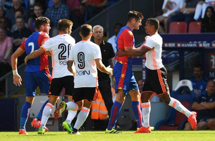 Football Soccer Britain - Crystal Palace v Valencia - Pre Season Friendly - Selhurst Park - 6/8/16 Crystal Palace's Scott Dann clashes with Valencia's Nani Action Images via Reuters / Tony O'Brien Livepic EDITORIAL USE ONLY. - RTSLEGJ