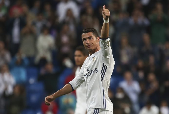 Football Soccer - Real Madrid v Sporting Portugal - UEFA Champions League group stage - Santiago Bernabeu stadium, Madrid, Spain - 14/09/16 Real Madrid's Cristiano Ronaldo reacts at the end of the match. REUTERS/Susana Vera - RTSNSC4