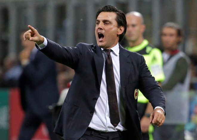 Football Soccer - AC Milan v Lazio - Italian Serie A - San Siro stadium, Milan, Italy - 20/9/16. AC Milan's coach Vincenzo Montella shouts during the match against Lazio. REUTERS/Max Rossi - RTSONNW