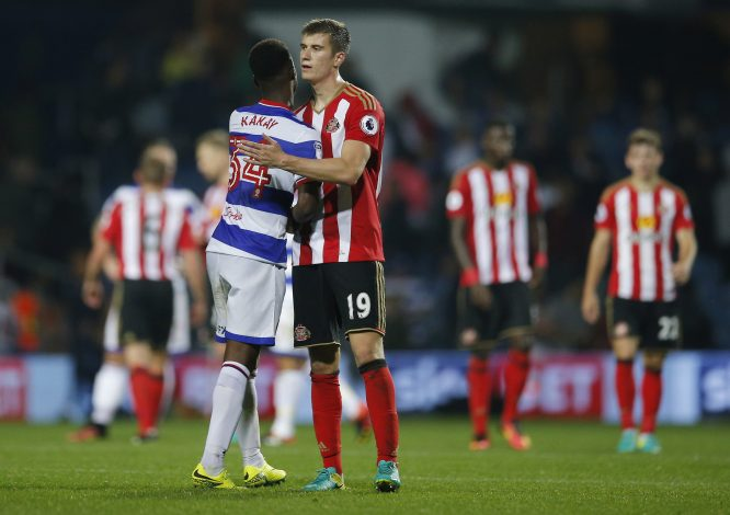 "Britain Football Soccer - Queens Park Rangers v Sunderland - EFL Cup Third Round - Loftus Road - 21/9/16 Queens Park Rangers' Osman Kakay with Sunderland's Paddy McNair at the end of the match Action Images via Reuters / Andrew Couldridge Livepic EDITORIAL USE ONLY. No use with unauthorized audio, video, data, fixture lists, club/league logos or ""live"" services. Online in-match use limited to 45 images, no video emulation. No use in betting, games or single club/league/player publications. Please contact your account representative for further details. - RTSOUOY"