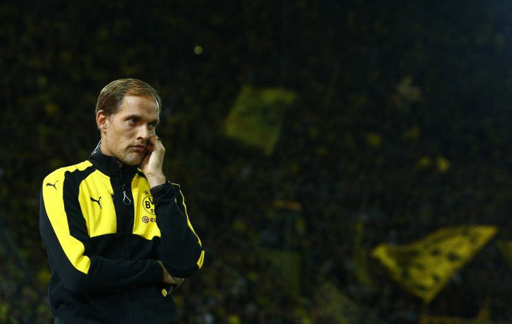 Football Soccer - Borussia Dortmund v SC Freiburg - German Bundesliga - Signal Iduna Park, Dortmund, Germany - 23/09/16 Borussia Dortmund coach Thomas Tuchel before match. RUTERS/Thilo Schmuelgen DFL RULES TO LIMIT THE ONLINE USAGE DURING MATCH TIME TO 15 PICTURES PER GAME. IMAGE SEQUENCES TO SIMULATE VIDEO IS NOT ALLOWED AT ANY TIME. FOR FURTHER QUERIES PLEASE CONTACT DFL DIRECTLY AT + 49 69 650050 FOR EDITORIAL USE ONLY. NO ARCHIVES. NO RESALES. - RTSP61E