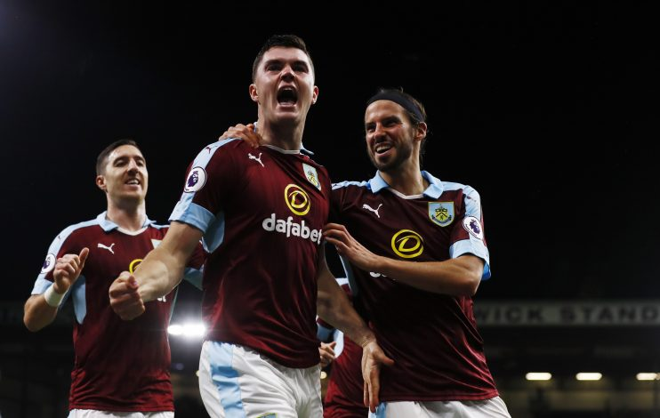 "Britain Football Soccer - Burnley v Watford - Premier League - Turf Moor - 26/9/16 Burnley's Michael Keane celebrates scoring their second goal with George Boyd and Stephen Ward Action Images via Reuters / Jason Cairnduff Livepic EDITORIAL USE ONLY. No use with unauthorized audio, video, data, fixture lists, club/league logos or ""live"" services. Online in-match use limited to 45 images, no video emulation. No use in betting, games or single club/league/player publications. Please contact your account representative for further details. - RTSPJHW"