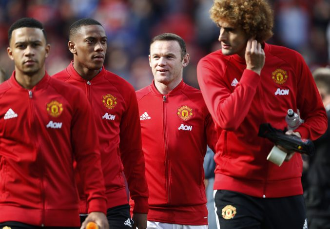Britain Soccer Football - Manchester United v Stoke City - Premier League - Old Trafford - 2/10/16 Manchester United's Wayne Rooney and Anthony Martial come out before the match Action Images via Reuters / Carl Recine Livepic EDITORIAL USE ONLY. - RTSQDY5