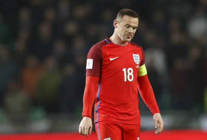 Football Soccer - Slovenia v England - 2018 World Cup Qualifying European Zone - Group F - Stadion Stozice, Ljubljana, Slovenia - 11/10/16 England's Wayne Rooney looks dejected Action Images via Reuters / Carl Recine Livepic EDITORIAL USE ONLY. - RTSRTYJ