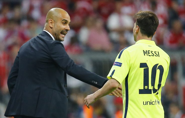 Football - Bayern Munich v FC Barcelona - UEFA Champions League Semi Final Second Leg - Allianz Arena, Munich, Germany - 12/5/15 Barcelona's Lionel Messi shakes hands with Bayern Munich coach Josep Guardiola Reuters / Kai Pfaffenbach - RTX1CO57