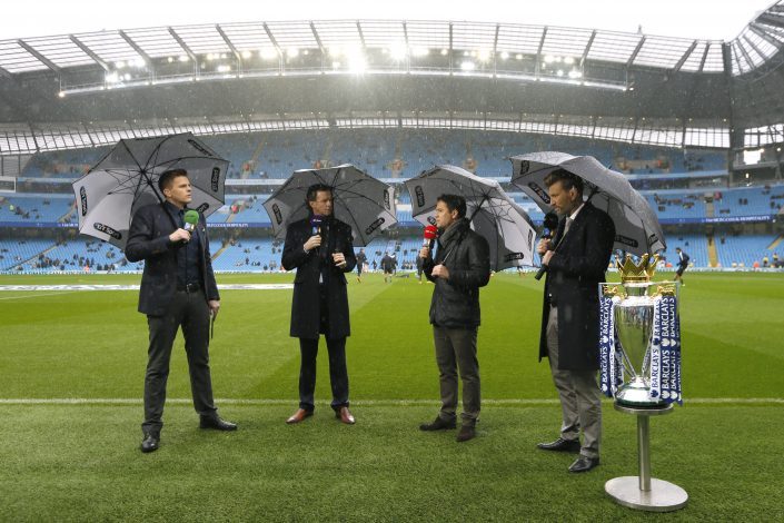 "Football - Manchester City v Leicester City - Barclays Premier League - Etihad Stadium - 6/2/16 BT Sport presenter Jake Humphrey with Steve McManaman, Michael Owen and Robbie Savage before the game Action Images via Reuters / Jason Cairnduff Livepic EDITORIAL USE ONLY. No use with unauthorized audio, video, data, fixture lists, club/league logos or ""live"" services. Online in-match use limited to 45 images, no video emulation. No use in betting, games or single club/league/player publications. Please contact your account representative for further details. - RTX25PML"