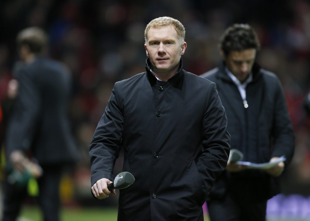 Football Soccer - Manchester United v FC Midtjylland - UEFA Europa League Round of 32 Second Leg - Old Trafford, Manchester, England - 25/2/16 BT Sport's Paul Scholes before the game Action Images via Reuters / Jason Cairnduff Livepic EDITORIAL USE ONLY. - RTX28LZM