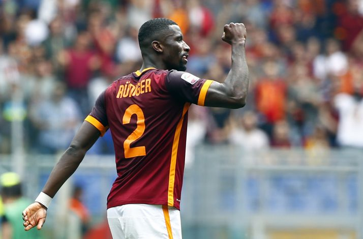 Football Soccer - AS Roma v Chievo Verona - Italian Serie A - Olympic Stadium, Rome, Italy - 08/05/16 AS Roma's Antonio Rudiger celebrates after scoring against Chievo Verona. REUTERS/Tony Gentile - RTX2DC0B