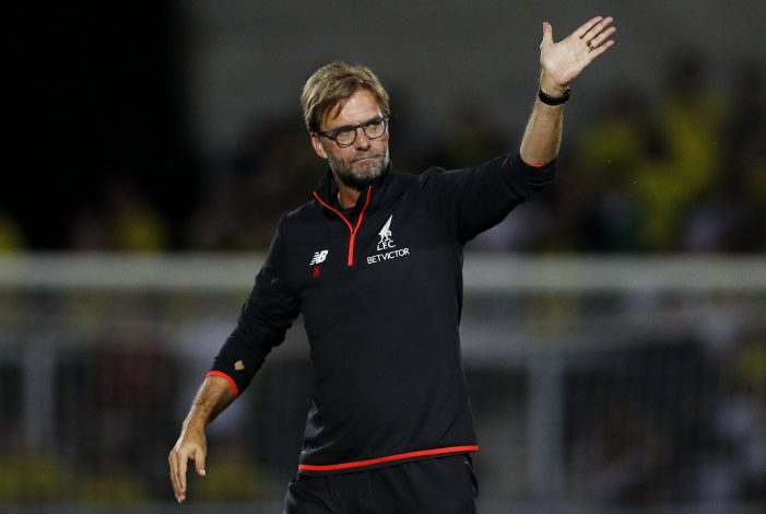 "Football Soccer Britain - Burton Albion v Liverpool - EFL Cup Second Round - Pirelli Stadium - 23/8/16 Liverpool manager Juergen Klopp waves to fans after the game Action Images via Reuters / Lee Smith Livepic EDITORIAL USE ONLY. No use with unauthorized audio, video, data, fixture lists, club/league logos or ""live"" services. Online in-match use limited to 45 images, no video emulation. No use in betting, games or single club/league/player publications. Please contact your account representative for further details. - RTX2MR7B"