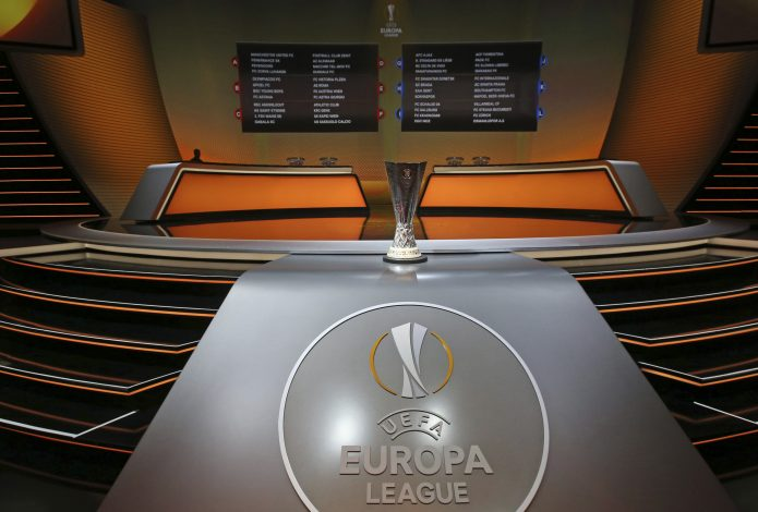 The Europa League cup (C) is seen after the draw for the 2016/2017 UEFA Europa League soccer competition at Monaco's Grimaldi Forum in Monaco, August 26, 2016. REUTERS/Eric Gaillard - RTX2N5KJ