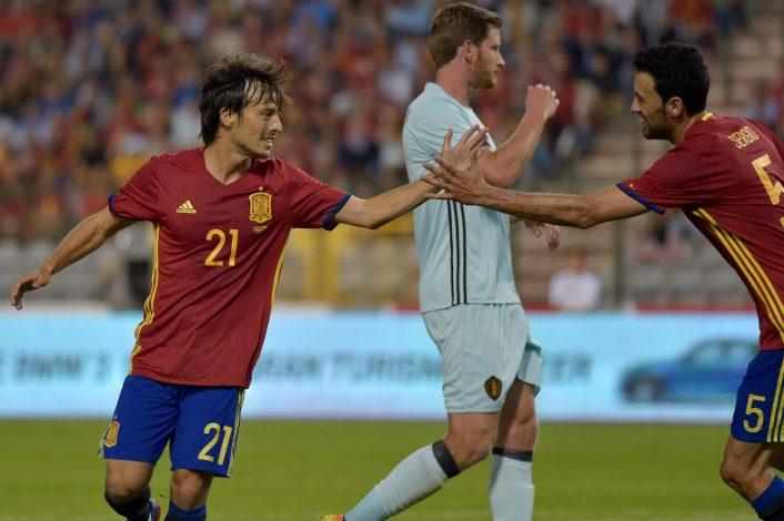 Football Soccer - Belgium v Spain - International Friendly - Brussels, Belgium - 1/9/2016. Spain's David Silva celebrates his goal. REUTERS/Eric Vidal - RTX2NTPF