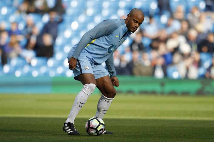 "Britain Football Soccer - Manchester City v Everton - Premier League - Etihad Stadium - 15/10/16 Manchester City's Vincent Kompany during the warm up before the game Reuters / Phil Noble Livepic EDITORIAL USE ONLY. No use with unauthorized audio, video, data, fixture lists, club/league logos or ""live"" services. Online in-match use limited to 45 images, no video emulation. No use in betting, games or single club/league/player publications. Please contact your account representative for further details. - RTX2OY7N"