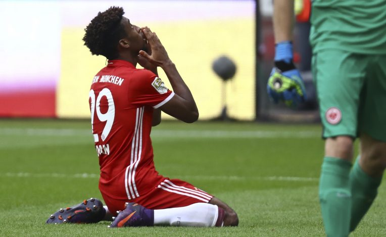 Football Soccer - Eintracht Frankfurt v FC Bayern Munich - German Bundesliga - Commerzbank arena, Frankfurt, Germany - 15/10/16 - Bayern's Kingsley Coman reacts REUTERS/Kai Pfaffenbach DFL RULES TO LIMIT THE ONLINE USAGE DURING MATCH TIME TO 15 PICTURES PER GAME. IMAGE SEQUENCES TO SIMULATE VIDEO IS NOT ALLOWED AT ANY TIME. FOR FURTHER QUERIES PLEASE CONTACT DFL DIRECTLY AT + 49 69 650050. - RTX2OYIX