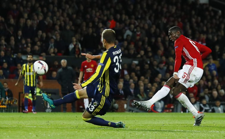 Britain Football Soccer - Manchester United v Fenerbahce SK - UEFA Europa League Group Stage - Group A - Old Trafford, Manchester, England - 20/10/16 Manchester United's Paul Pogba scores their third goal Action Images via Reuters / Jason Cairnduff Livepic EDITORIAL USE ONLY. - RTX2PRWV