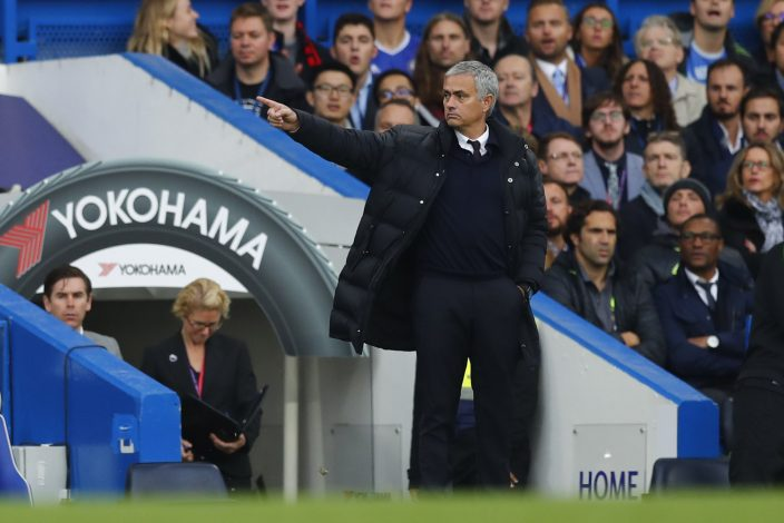"""Britain Soccer Football - Chelsea v Manchester United - Premier League - Stamford Bridge - 23/10/16 Manchester United manager Jose Mourinho  Reuters / Eddie Keogh Livepic EDITORIAL USE ONLY. No use with unauthorized audio, video, data, fixture lists, club/league logos or """"live"""" services. Online in-match use limited to 45 images, no video emulation. No use in betting, games or single club/league/player publications.  Please contact your account representative for further details. - RTX2Q3I4"""