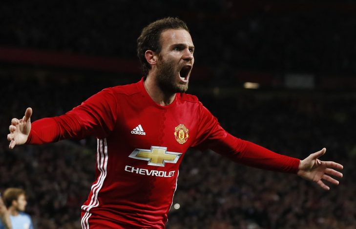 """Football Soccer Britain - Manchester United v Manchester City - EFL Cup Fourth Round - Old Trafford - 26/10/16 Manchester United's Juan Mata celebrates scoring their first goal Action Images via Reuters / Jason Cairnduff Livepic EDITORIAL USE ONLY. No use with unauthorized audio, video, data, fixture lists, club/league logos or """"live"""" services. Online in-match use limited to 45 images, no video emulation. No use in betting, games or single club/league/player publications. Please contact your account representative for further details. - RTX2QLT3"""