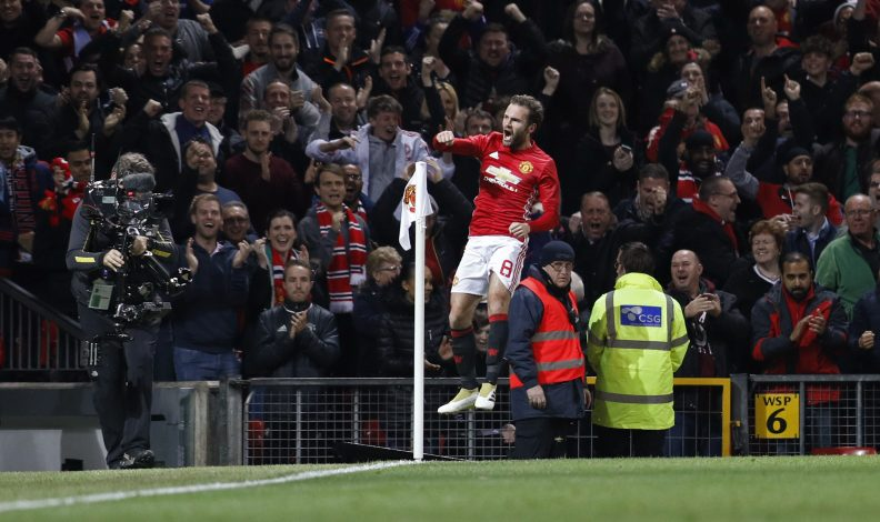 "Football Soccer Britain - Manchester United v Manchester City - EFL Cup Fourth Round - Old Trafford - 26/10/16 Manchester United's Juan Mata celebrates scoring their first goal Reuters / Darren Staples Livepic EDITORIAL USE ONLY. No use with unauthorized audio, video, data, fixture lists, club/league logos or ""live"" services. Online in-match use limited to 45 images, no video emulation. No use in betting, games or single club/league/player publications. Please contact your account representative for further details. - RTX2QLTB"