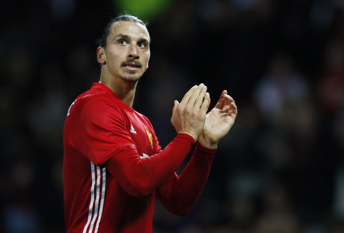 "Football Soccer Britain - Manchester United v Manchester City - EFL Cup Fourth Round - Old Trafford - 26/10/16 Manchester United's Zlatan Ibrahimovic applauds fans after the game Action Images via Reuters / Jason Cairnduff Livepic EDITORIAL USE ONLY. No use with unauthorized audio, video, data, fixture lists, club/league logos or ""live"" services. Online in-match use limited to 45 images, no video emulation. No use in betting, games or single club/league/player publications. Please contact your account representative for further details. - RTX2QM27"