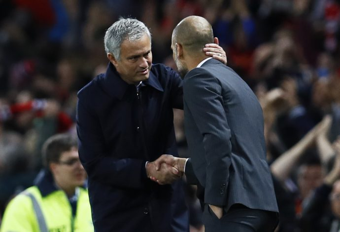 "Football Soccer Britain - Manchester United v Manchester City - EFL Cup Fourth Round - Old Trafford - 26/10/16 Manchester United manager Jose Mourinho with Manchester City manager Pep Guardiola after the match Action Images via Reuters / Jason Cairnduff Livepic EDITORIAL USE ONLY. No use with unauthorized audio, video, data, fixture lists, club/league logos or ""live"" services. Online in-match use limited to 45 images, no video emulation. No use in betting, games or single club/league/player publications. Please contact your account representative for further details. - RTX2QM2T"
