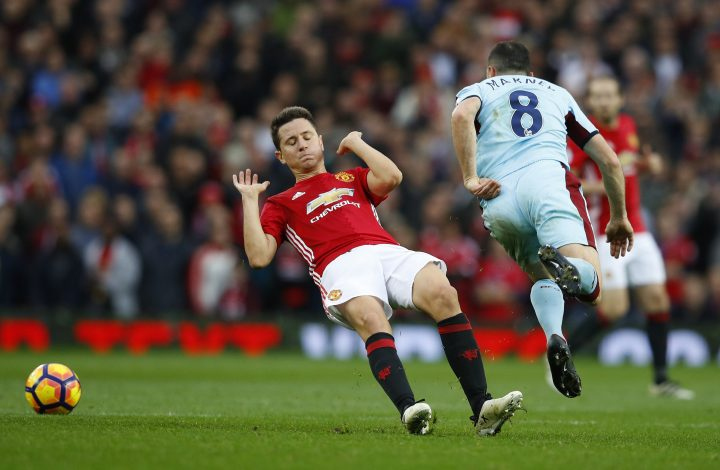 """Britain Football Soccer - Manchester United v Burnley - Premier League - Old Trafford - 29/10/16 Manchester United's Ander Herrera fouls Burnley's Dean Marney and is later sent off Reuters / Phil Noble Livepic EDITORIAL USE ONLY.No use with unauthorized audio, video, data, fixture lists, club/league logos or """"live"""" services. Online in-match use limited to 45 images, no video emulation. No use in betting, games or single club/league/player publications. Please contact your account representative for further details. - RTX2QYYQ"""