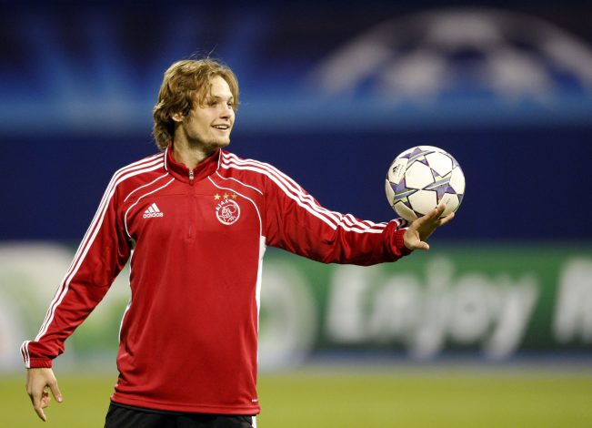 Ajax Amsterdam national team soccer player Daley Blind exercises during a training session at Maksimir stadium in Zagreb October 17, 2011. Ajax will face Dinamo Zagreb in a Champions League Group D soccer match on Tuesday. REUTERS/Nikola Solic (CROATIA - Tags: SPORT SOCCER) - RTR2SRFA
