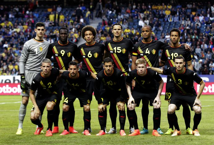 The Belgium national soccer team poses for a picture before their international friendly soccer match against Sweden in Stockholm June 1, 2014. Players pictured include (back row, L-R) Thibaut Courtois, Romelu Lukaku, Axel Witsel, Daniel Van Buyten, Vincent Kompany and Moussa Dembele; (front row, L-R) Toby Alderweireld, Dries Mertens, Eden Hazard, Kevin De Bruyne and Thomas Vermaelen. REUTERS/Ints Kalnins (SWEDEN - Tags: SPORT SOCCER WORLD CUP) - RTR3RQS6