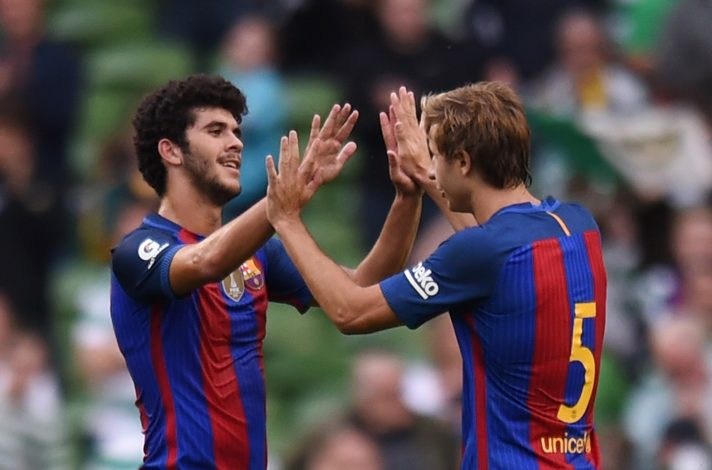 Football Soccer - FC Barcelona v Celtic - International Champions Cup 2016 - Aviva Stadium, Dublin, Republic of Ireland - 30/7/16 Barcelona's Carles Alena and Sergi Samper celebrate at the end of the match Reuters / Clodagh Kilcoyne Livepic - RTSKE8R