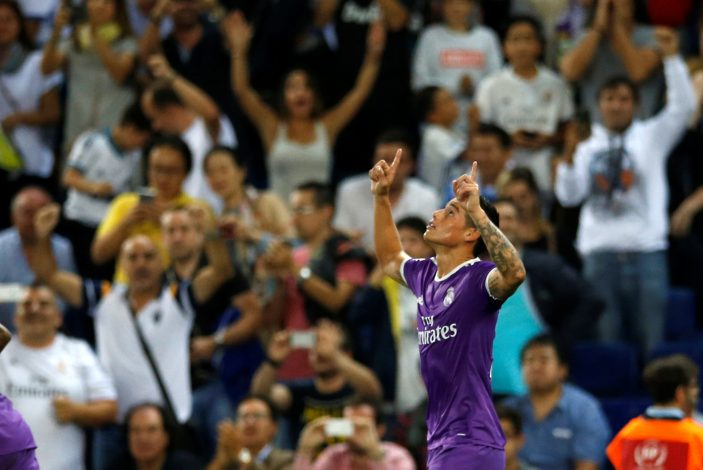 Football Soccer - Espanyol v Real Madrid - Spanish La Liga Santander - RCDE stadium, Cornella - El Prat, Spain - 18/09/16 Real Madrid's James Rodriguez celebrates a goal. REUTERS/Albert Gea - RTSOBGX