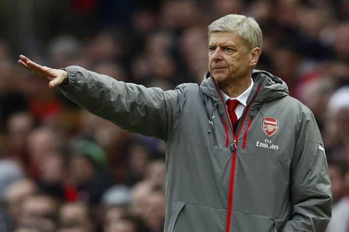 """Britain Football Soccer - Manchester United v Arsenal - Premier League - Old Trafford - 19/11/16 Arsenal manager Arsene Wenger gestures Action Images via Reuters / Jason Cairnduff Livepic EDITORIAL USE ONLY. No use with unauthorized audio, video, data, fixture lists, club/league logos or """"live"""" services. Online in-match use limited to 45 images, no video emulation. No use in betting, games or single club/league/player publications. Please contact your account representative for further details. - RTSSDD9"""