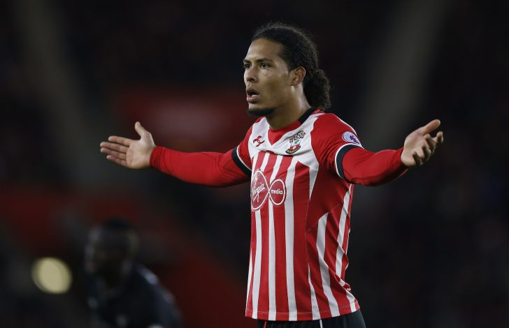"Britain Football Soccer - Southampton v Liverpool - Premier League - St Mary's Stadium - 19/11/16 Southampton's Virgil van Dijk reacts Action Images via Reuters / Matthew Childs Livepic EDITORIAL USE ONLY. No use with unauthorized audio, video, data, fixture lists, club/league logos or ""live"" services. Online in-match use limited to 45 images, no video emulation. No use in betting, games or single club/league/player publications. Please contact your account representative for further details. - RTSSE4F"